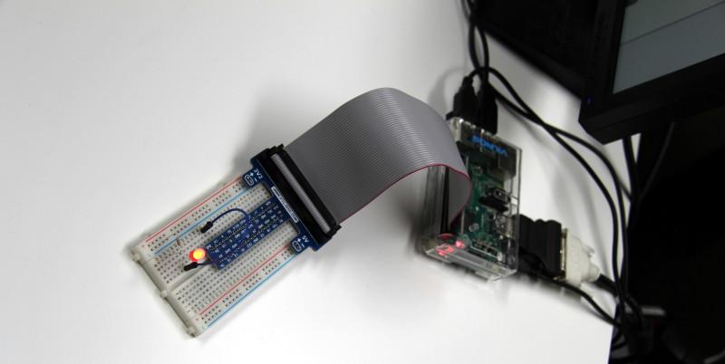 Die fertige Schaltung am Raspberry Pi 2